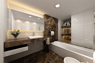 modern style bathroom with marble tiles and white walls